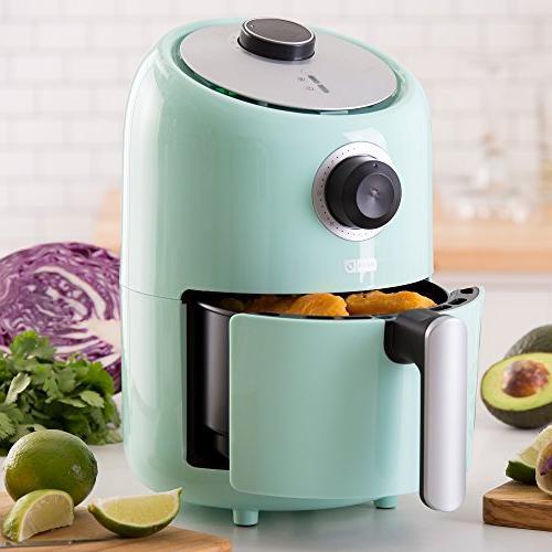 Dash Compact 1.2 L Fryer Cooker with Temperature Control, Fry Basket, Recipe + Auto Feature - Aqua