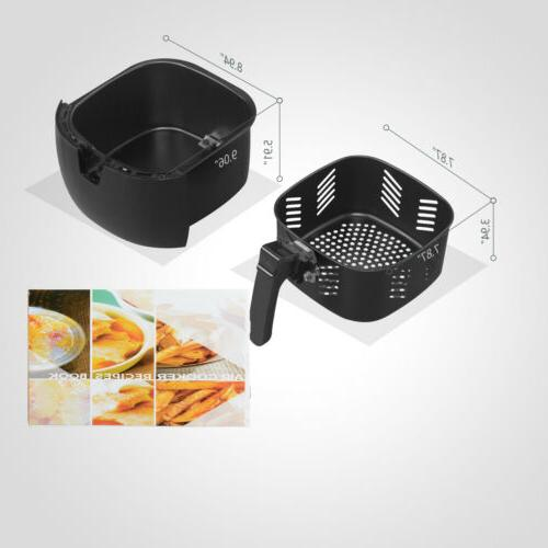 1300W 4.4QT Electric Oil Less Fryer and Temperature