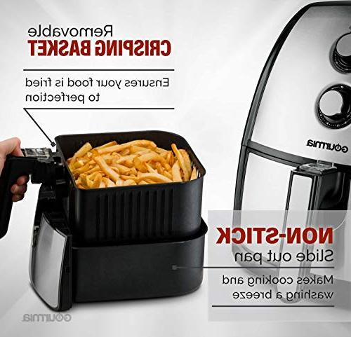 Gourmia 5 Quart Air Fryer Healthy Time Dials   Tray   Book Included