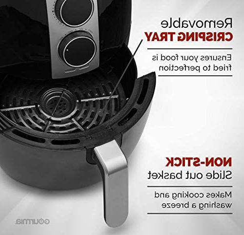 Gourmia Air Fryer Healthy Cooking | Adjustable Time | Tray Free Recipe Book Included