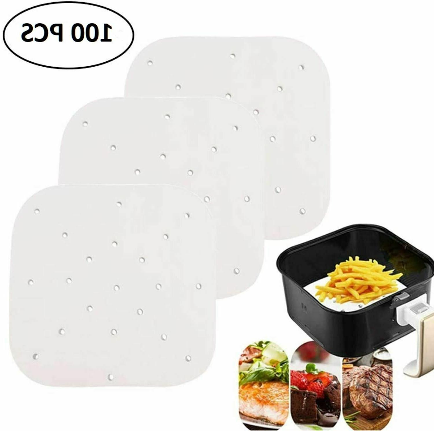 100 Count JUVALE 9 Inch Bamboo Steamer Liner Perforated Air Fryer Parchment Paper