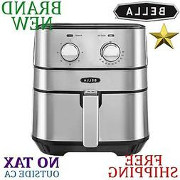 NEW Bella STAINLESS STEEL Air FRYER 5.3 qt Auto Timer 1700W
