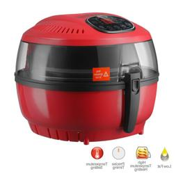 4.4QT 1300W Red Electric Oil Less Air Fryer with Temperature