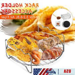 US 8Pcs BBQ Grill Air Fryer Tray Rack + Brush for NuWave Bri