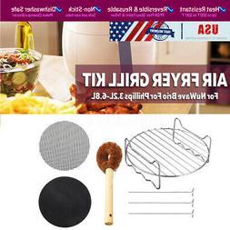 US Air Fryer Tray Grill Rack Skewers Brush For NuWave Brio F