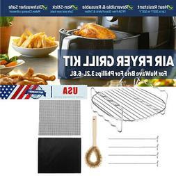 USA Air Fryer Tray Grill Rack 4 Skewers Brush For NuWave Bri