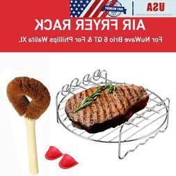 USA Air Fryer Tray Rack + Brush Gloves for NuWave Brio 6 QT/